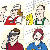 drawings of four people who are employed