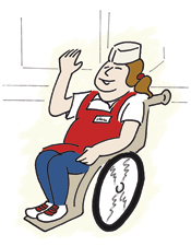 restaurant worker in wheelchair